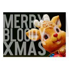 Merry Bloody Xmas Cute but Direct Christmas Card - merry christmas diy xmas present gift idea family holidays