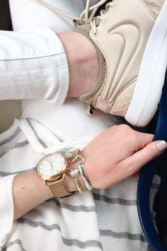 All neutrals all day featuring the Q Tailor rose gold hybrid smartwatch. via @ karisrae