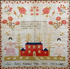 North American schoolgirl sampler. Embroidered script reads: 'Ann Sykes, finished this work April 8 1845.' It sold for £460.