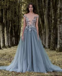 2017 Paolo Sebastian Lace Prom Dresses Sheer Plunging Neckline Appliqued Party Gowns Cheap Sweep Train Tulle Beads Evening Wear For Women 2016 Paolo Sebastian Lace Prom Dresses Plunging Neckline Appliqued Party Dress Tulle Beads Evening Wear For Women Online with $188.58/Piece on Yaostore's Store   DHgate.com
