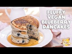 (38) Fluffy Vegan Blueberry Pancakes - YouTube
