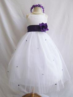 Flower Girl Dress WHITE/Purple Eggplant RB3 Wedding Children Easter Bridesmaid Communion Purple Eggplant Orange Burnt Lilac Green Sage