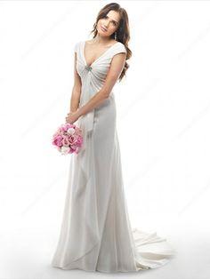 Sheath/Column V-neck Chiffon Court Train Crystal Brooch Wedding Dresses -£150.89