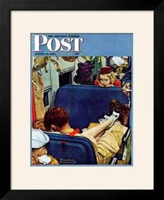 """""""Travel Experience"""" Saturday Evening Post Cover, August 12,1944 Giclee Print by Norman Rockwell at Art.com"""