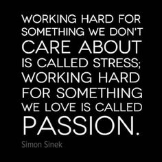 Whatever you do, do it with passion. That is what will make you happy & relieves stress. Anything done in love is something well done.