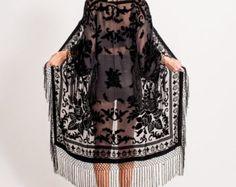 Velvet Fringe Kimono | Black Floral