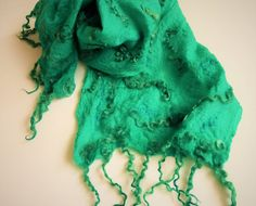 Emerald green wool shawl, felted scarf, neck warmer, Christmas gift idea, wearable art, felted cobweb wrap, winter clothing, women accessory