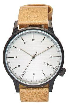 Komono 'Winston Regal' Leather Strap Watch, 42mm