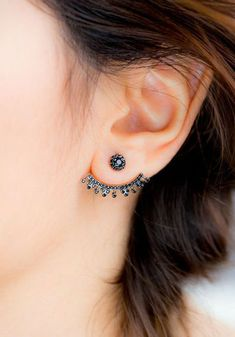 Black Crystal Starburst Earring - Ear Jacket Piercing Jewelry Ideas at MyBodiArt.com