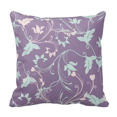 Pretty Purple & Pastels Throw Pillow via Zazzle