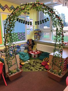 What a cute idea to cozy up a reading corner! I'm always looking for new inspiration to spice up my classroom reading corner! pillow classroom Awesome Reading Corners For Kids - jihanshanum Book Corner Classroom, Garden Theme Classroom, Forest Classroom, Eyfs Classroom, Classroom Design, Classroom Reading Nook, Preschool Reading Corner, Preschool Classroom Layout, Reading Corner School