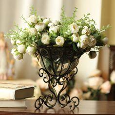 5 Color Free Shipping (6Pcs/Lot)Artificial Bridal Bouquet Vintage Pearl Fabric Rose Centerpieces Flower Wedding Decoration US $30.00