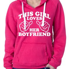 This Girl Loves Her Boyfriend Ladies Womens Brushed V-Neck Hooded Sweatshirt Hoodie SuperSoft S,M,L,XL,2XL. $37.00, via Etsy.