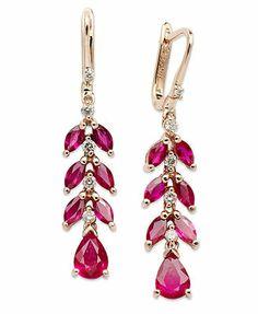 14k Rose Gold Earrings, Ruby (4 ct. t.w.) and Diamond (1/4 ct. t.w.) Petal Drop Earrings
