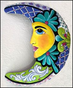 """Moon Wall Art - Hand Painted Metal Moon Outdoor Decor - Handcrafted in Haiti - 25"""" x 32"""""""
