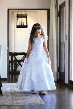 Beautiful Bridal Satin Dress with An Embroidered Organza Overlay Communion Dress