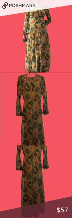 Vintage brown blue print A-line dress 810 Tie neck 1970S