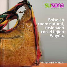#Bolso en cuero natural. Tejido #Wayúu con #hilos de colores. Color: Miel.