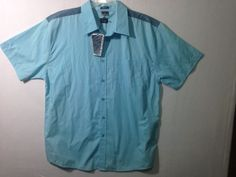 Oakley Blue Print 62K Mens Blue Button Down Shifter Shirt Size Large #Oakley #ButtonFront