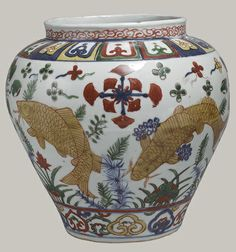 Jar, Ming dynasty, Jiajing mark and period (1522–1566) China Porcelain painted in underglaze blue and overglaze polychrome enamels; H. 9 1/8 in. (23.2 cm)