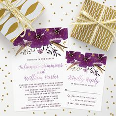 pretty #watercolor violet flowers #wedding #invitations #floral by The Spotted Olive for @lemonleafprints #weddinginvitations #weddings