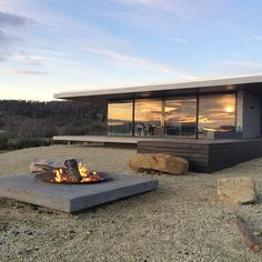 Modern terrace with fire pit