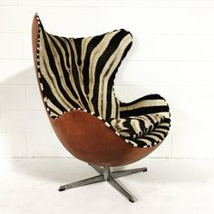 Arne Jacobsen Egg Chair in Zebra Hide and Leather