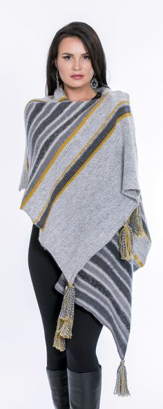 Shawl, poncho, wrap, cover up, grey, yellow,mustard, wool, Peruvian wool, women's clothing, accessories, wool shawl, women's wrap, cover-up