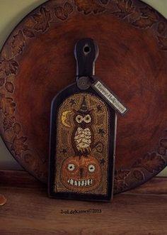 Halloween Hoot II Primitive Original Owl Pumpkin JOL Punch Needle Hornbook | eBay