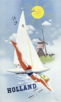 Holland. Vintage Holland travel poster, 1948. The scenic Dutch coast is on display as a woman dives into the water with a sailboat and windmill in the background. Illustrated by Jan Wijga