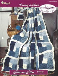 Crochet Block Afghan Pattern Home Decor by KnitKnacksCreations