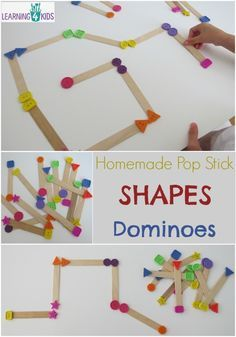 ACTIVITIES at Learning 4 Kids Homemade Pop Stick Shapes Dominoes - simple hands-on game for learning and playing with shapes. Toddler Learning, Preschool Learning, Learning Games, Math Games, Preschool Crafts, Teaching, Classroom Games, Maths, Games For Kids