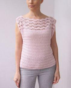 New Wave top Crochet pattern by Ana D Crochet Tank Tops, Crochet Blouse, Knit Crochet, Crochet Vests, Crochet Woman, Crochet Shawl, Christmas Knitting Patterns, Crochet Patterns, Crochet Edgings