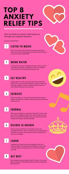 Anxiety relief tips. Check out my website curlyhairedmom.com for more articles on mental health, marriage, and kids.