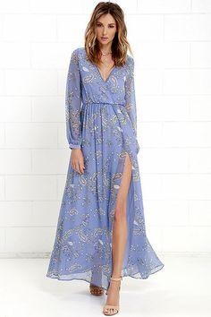 bcf88a966d42 Wondrous Water Lilies Periwinkle Blue Paisley Print Maxi Dress at  Lulus.com! Long Junior
