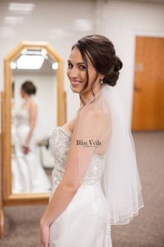 1 layer veil with a pencil edge. This simple veil is classy and sophisticated! Veil comes in 10 different lengths from fingertip to cathedral (shown here in 25 elbow length). Simple Veil, Wedding Veils, Wedding Dresses, Short Veil, Thing 1, Black Veil, Wedding Trends, Wedding Ideas, Bridal Looks