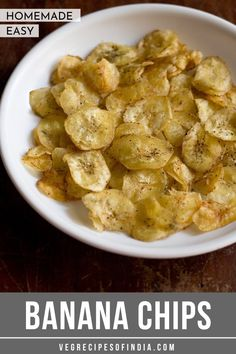 banana chips recipe - easy and simple homemade banana chips made from raw banana. these banana chips can also be had during fasting. Healthy Indian Snacks, Vegan Snacks, Indian Food Recipes, Vegetarian Recipes, Healthy Recipes, Vegan Vegetarian, Punjabi Recipes, Jain Recipes, Healthy Food