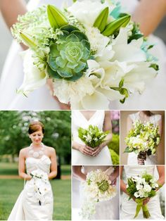 Bouquets ~ White and green ~ the color of the day!