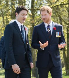 April 9-17 Prince Harry speaks with Canadian PM Justin Trudeau in France at #Vimy100 honouring fallen Canadian WWI soldiers