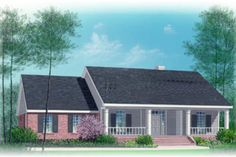 Ranch Style House Plan - 3 Beds 2.00 Baths 1775 Sq/Ft Plan #15-141 Exterior - Front Elevation - Houseplans.com