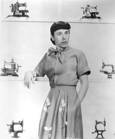 Oscar winning costume designer Edith Head without her trademark shades and looking a bit like Margaret Hamilton!