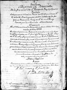 Title page of the Registro de Bautismos, the Baptism Registers, San Fernando Rey de Espana Mission. It was signed by Fray Fermin Francisco de Lasuen on September 8, 1797. San Fernando, Rey de España. San Fernando Valley History Digital Library.