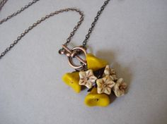 Yellow Rose Necklace - a flower lariat $20 #etsy
