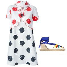 Vivetta Ben dress, price upon request; farfetch.com; Castaner Jean canvas espadrille, $215; net-a-porter.com
