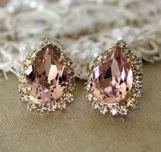 Pink Crystal big teardrop stud earring - 14k plated gold post earrings real swarovski rhinestones .. $38.00, via Etsy.