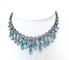 Austrian Crystal Rhinestone Necklace. by JewelryOnVintageLane