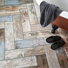 Rustic Blue Reclaimed Wood Effect Tiles Rustic Blue Wood Plank Tiles Wood Plank Tile, Wood Tile Floors, Plank Flooring, Wood Planks, Flooring Ideas, Kitchen Flooring, Wood Wall, Bathroom Floor Tiles, Wood Bathroom