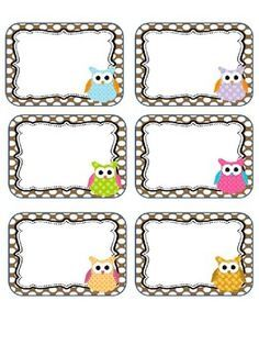Editable Owl labels may print these on cardstock or full label sheets as they do not fit a certain size. This is for personal use . Owl Labels, Name Labels, Printable Labels, Printables, Owl Theme Classroom, Classroom Labels, Notebook Labels, School Frame, School Labels
