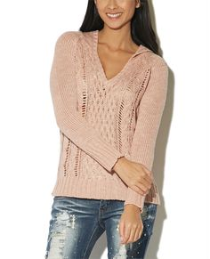 Cable Stitch Hoodie Sweater from Wet Seal