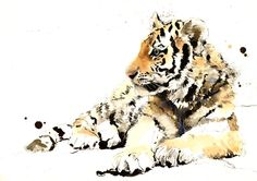 "Saatchi Online Artist: Lucy Newton; Ink, Mixed Media ""Tiger Cub"""